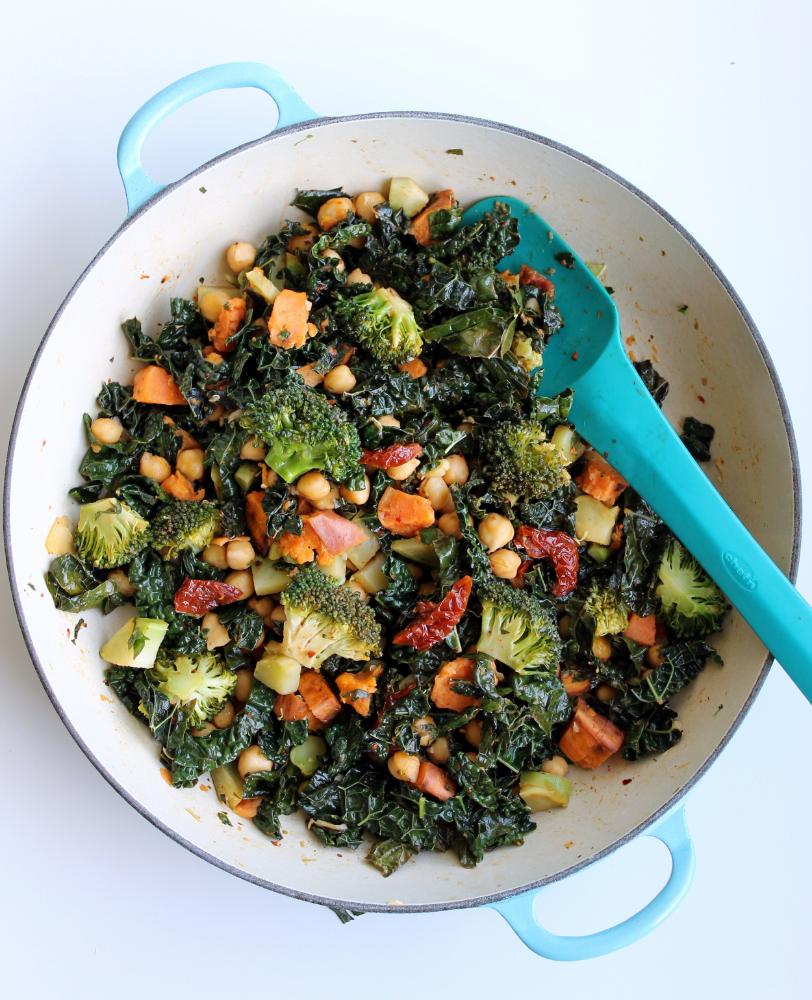 Broccoli Kale And Chickpea Stir Fry Whole Nourishment