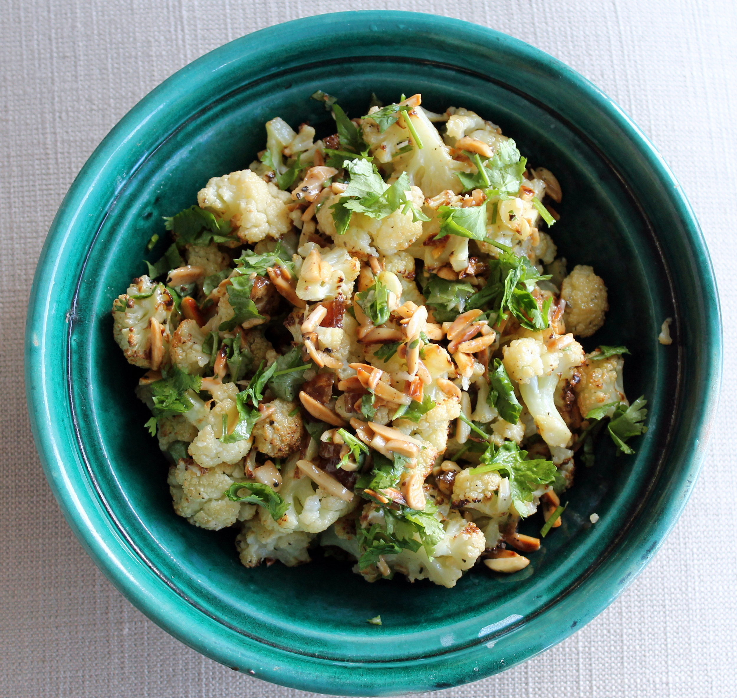 Roasted Cauliflower with Dates, Almonds, and Tahini