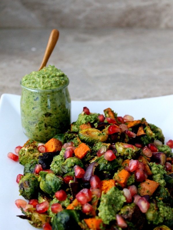 Roasted Vegetable Platter with Almond Cilantro Salsa