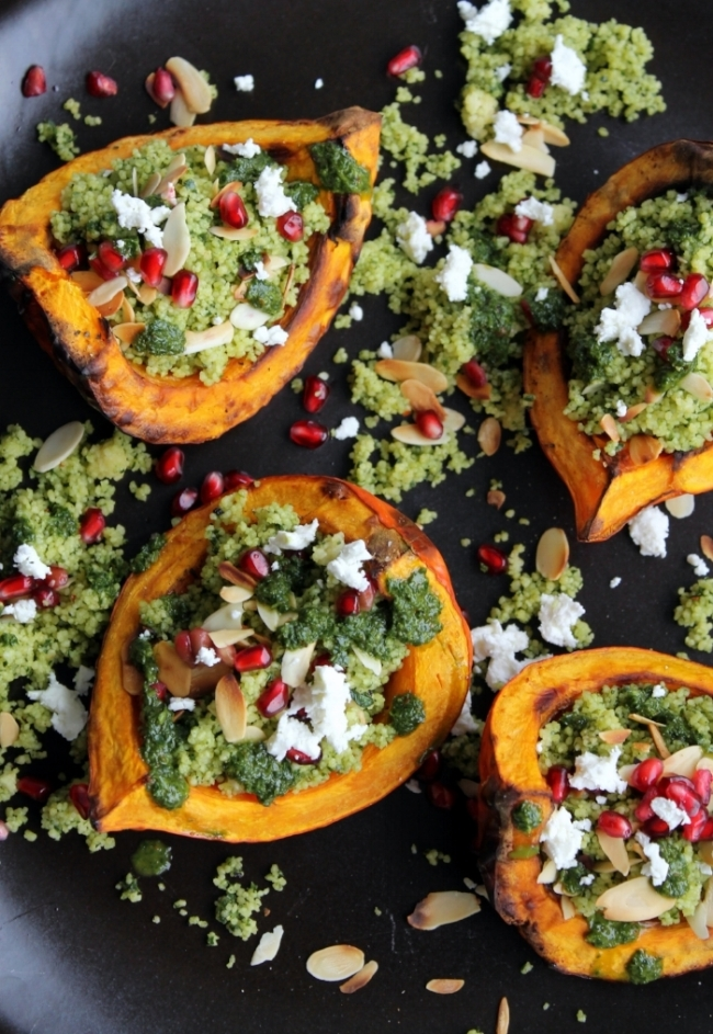 Green Couscous Platter with Roasted Squash, Feta, and Pomegranates