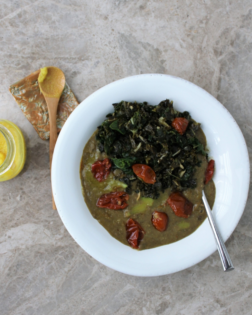 """This is hands-down, my  favorite meal of the spring  🌿. It's got it all: gut-supporting spices, healthy fats, grounding protein, immune-boosting phytonutrients, and TONS of flavor and fun, all in one bowl 🍲 🙌🏼⠀ ⠀ I start with Heidi's Green Lentil Soup with Curried Brown Butter. Then I top it off with semi-dried cherry tomatoes and greens sauteed in coconut oil with fresh ginger and lemon 🍋 🍅🥥 ⠀ For Heidi's soup recipe, search """"green lentil soup 101 cookbooks"""" 👈🏼👀⠀"""