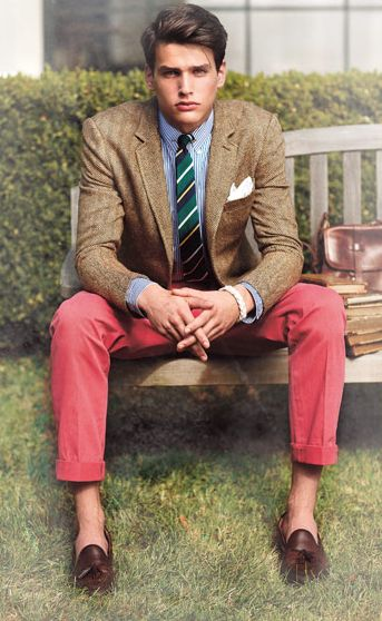 Red jeans/pants are a good analogous color combination with brown shoes