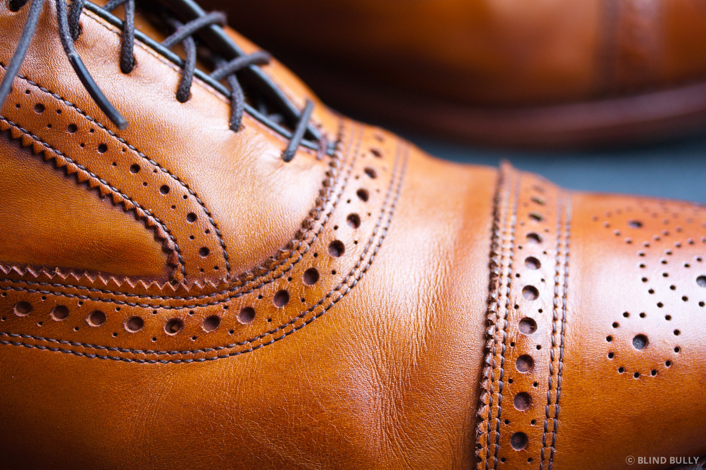 Gentle creasing from a full grain leather shoe.