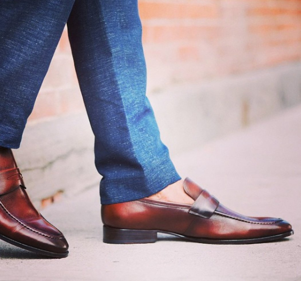 Grain polished leather fits the tailored pants better