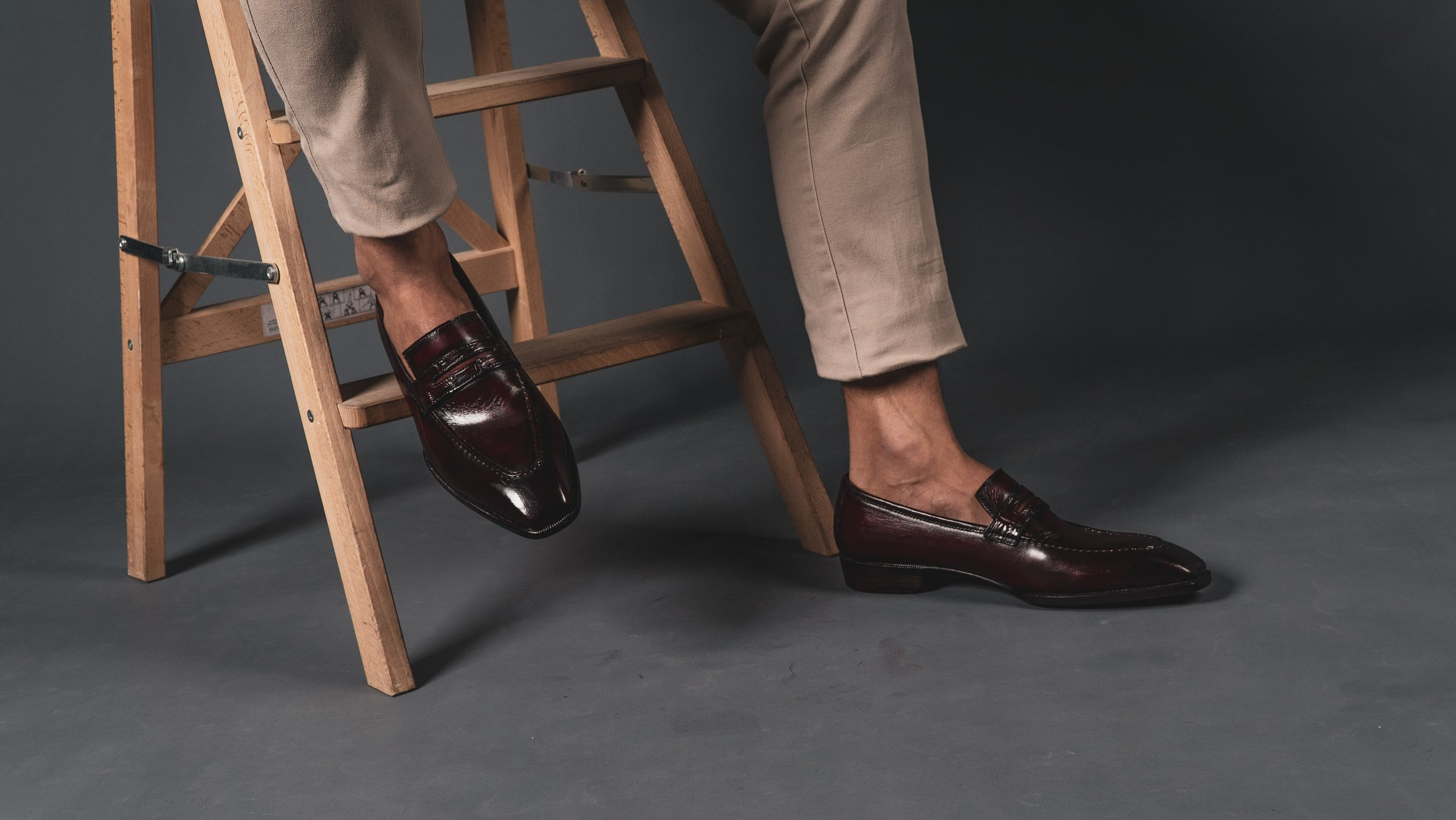 Uno Luxury Patina Penny Loafers Custommade