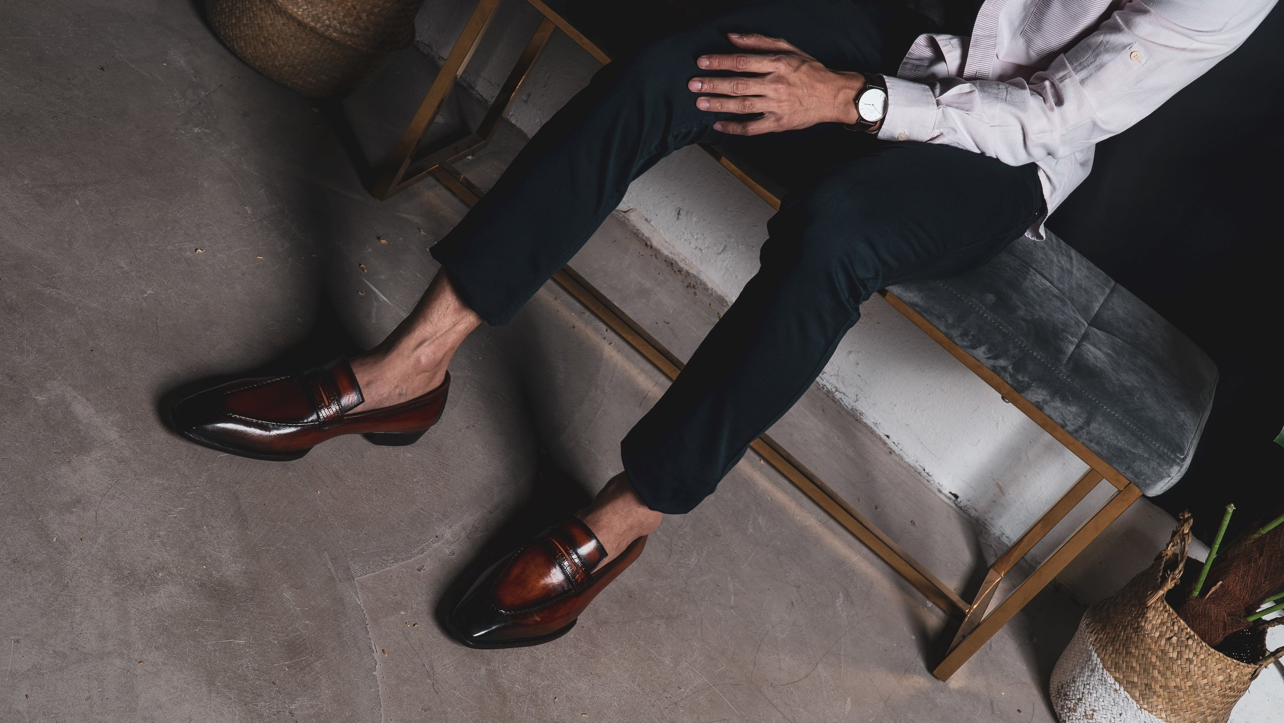 UNO Umber loafers with Navy pants