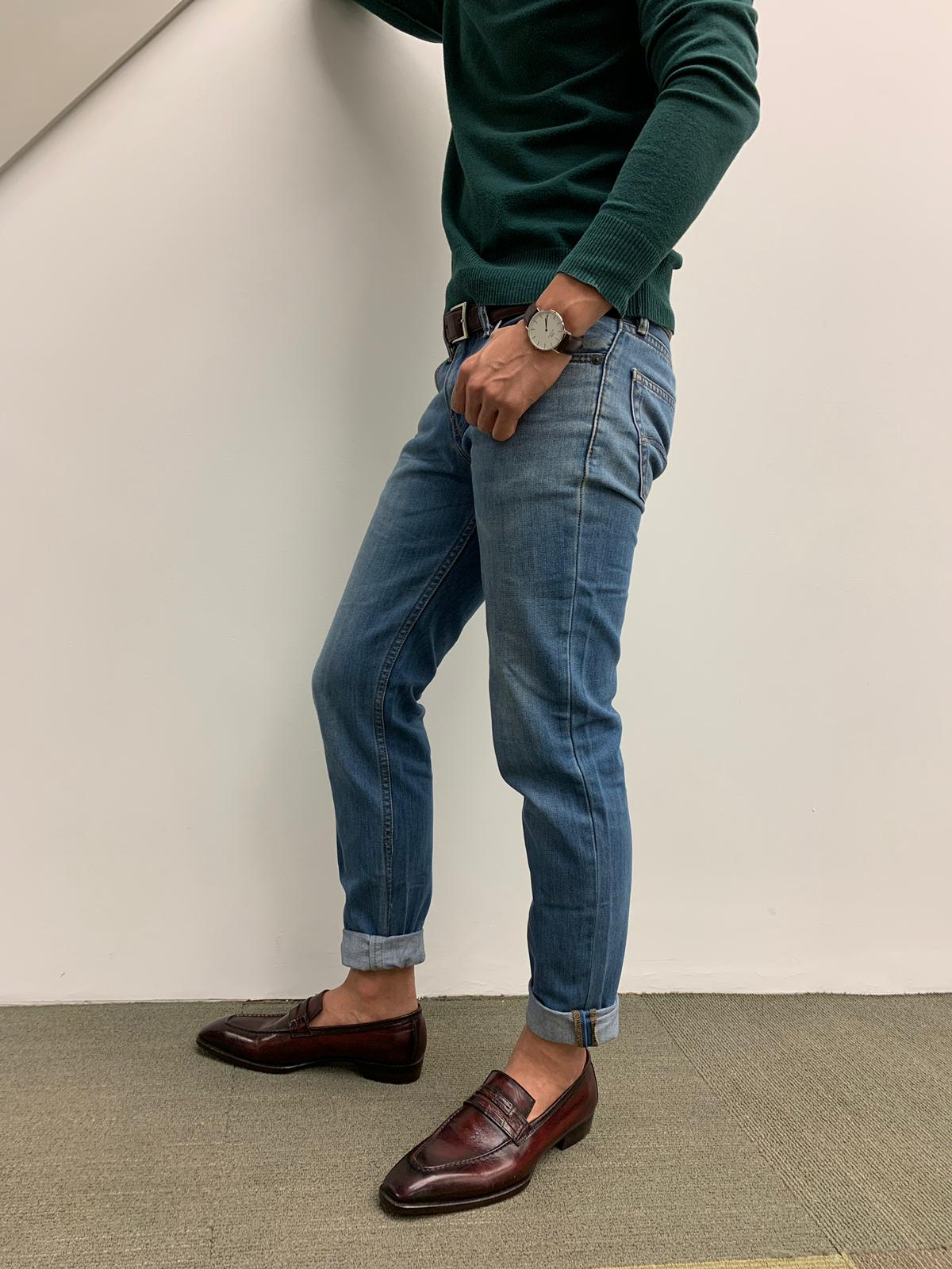 Cuff your jeans up for a more casual look.