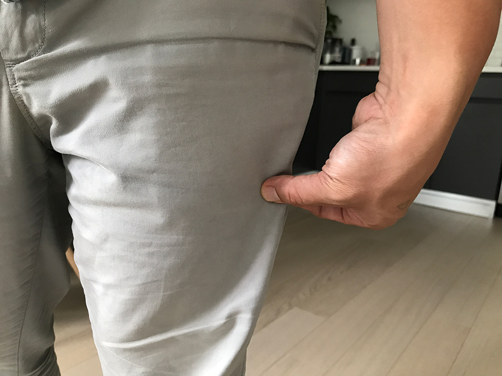 1 inch of material is how you want your shorts to fit