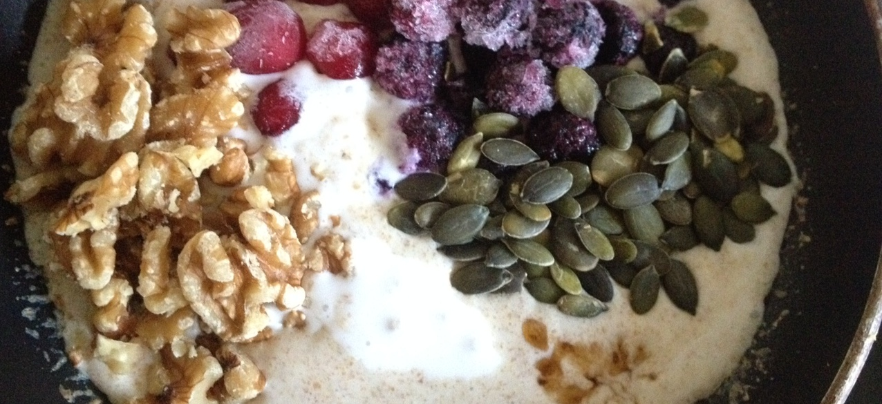 walnuts, frozen cranberries and blueberries, pepitas, maple syrup and coconut milk