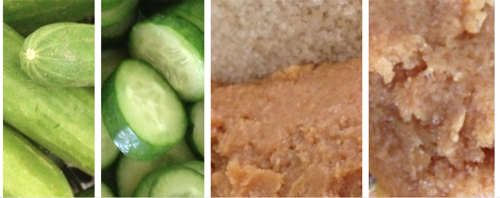Little cucumbers, cut into 2mm rounds. Miso and sugar then mixed together.