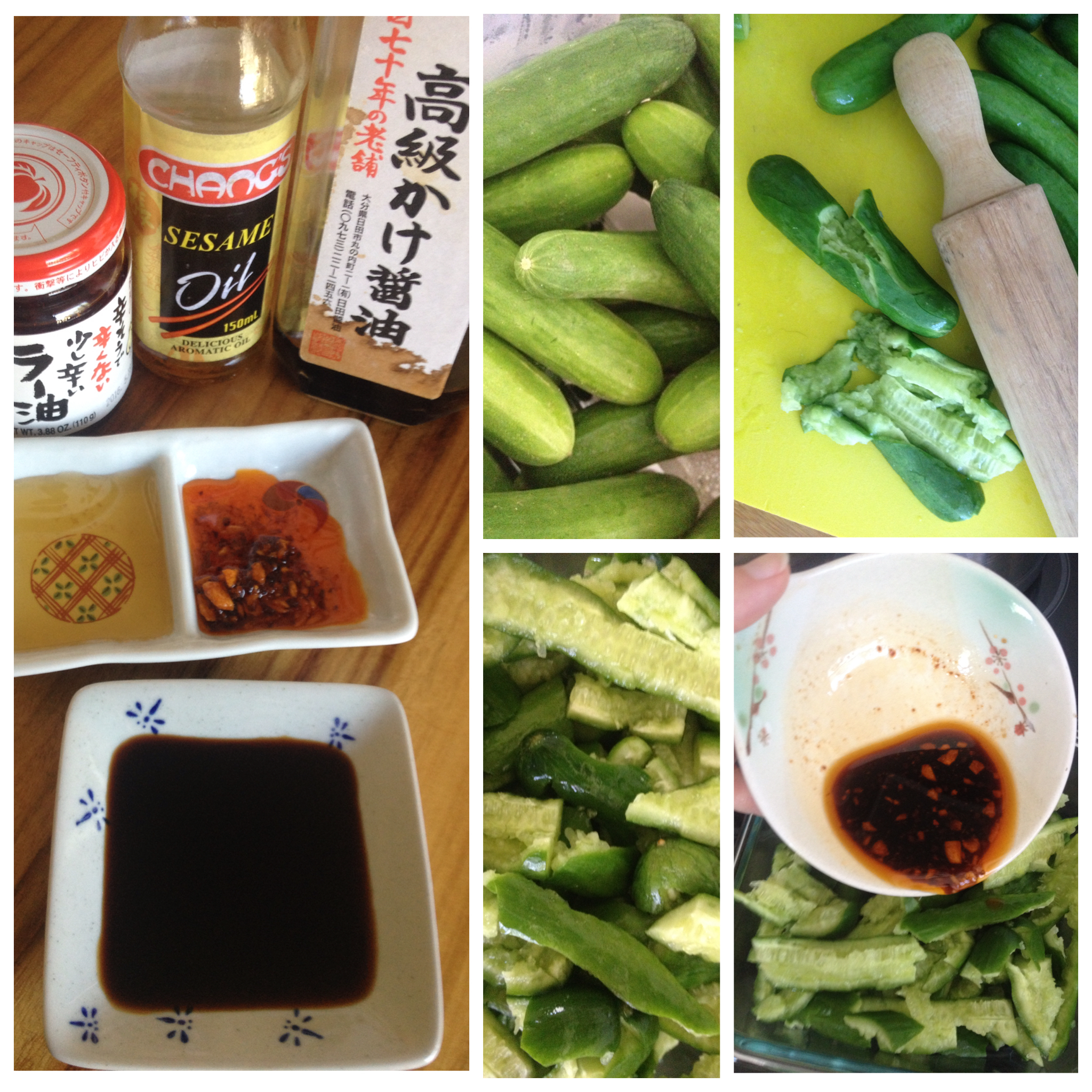 The chilli oil we have is mildly warming and has garlic in it. By smashing the cucumbers, there is more surface area for the dressing to soak in than if the cucumbers were cut.