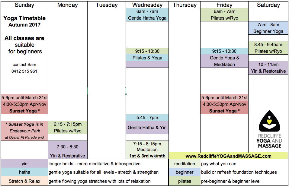 Click on the timetable to go to our yoga page for a downloadable timetable.