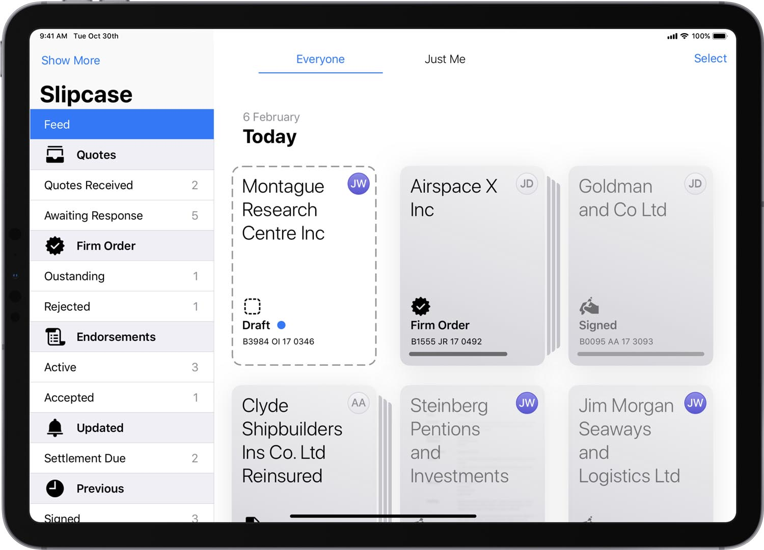 Whitespace's native iOS user experience design (UX), here on iPad, is playing a central role in driving growth for InsurTech Whitespace software