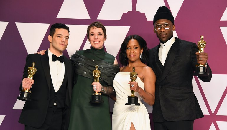 Rami Malek, Olivia Colman, Regina King, Mahershala Ali with their Oscars at the 2019 Academy Awards