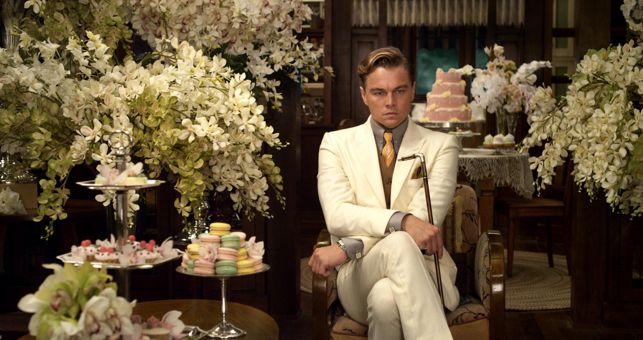 Leonardo DiCaprio as Jay Gatsby in Baz Luhrmann's  The Great Gatsby .