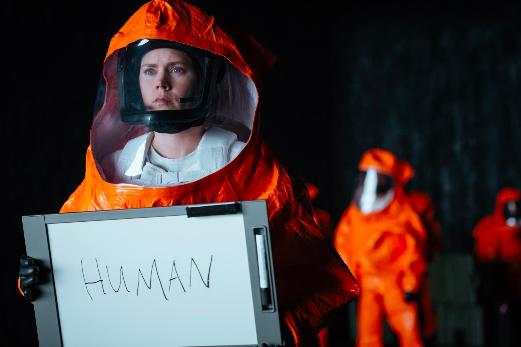 Amy Adams communicates with the alien beings in  Arrival .