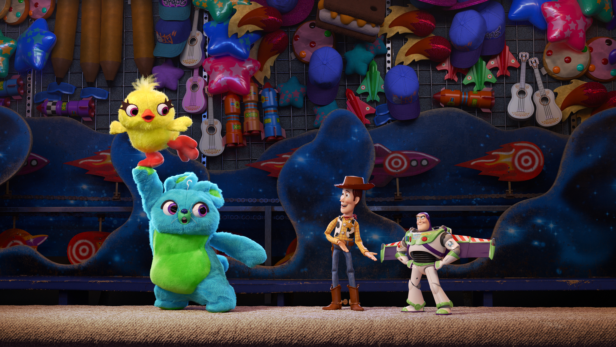 One iconic duo meets another, as Ducky and Bunny are introduced to Woody and Buzz in  Toy Story 4 .