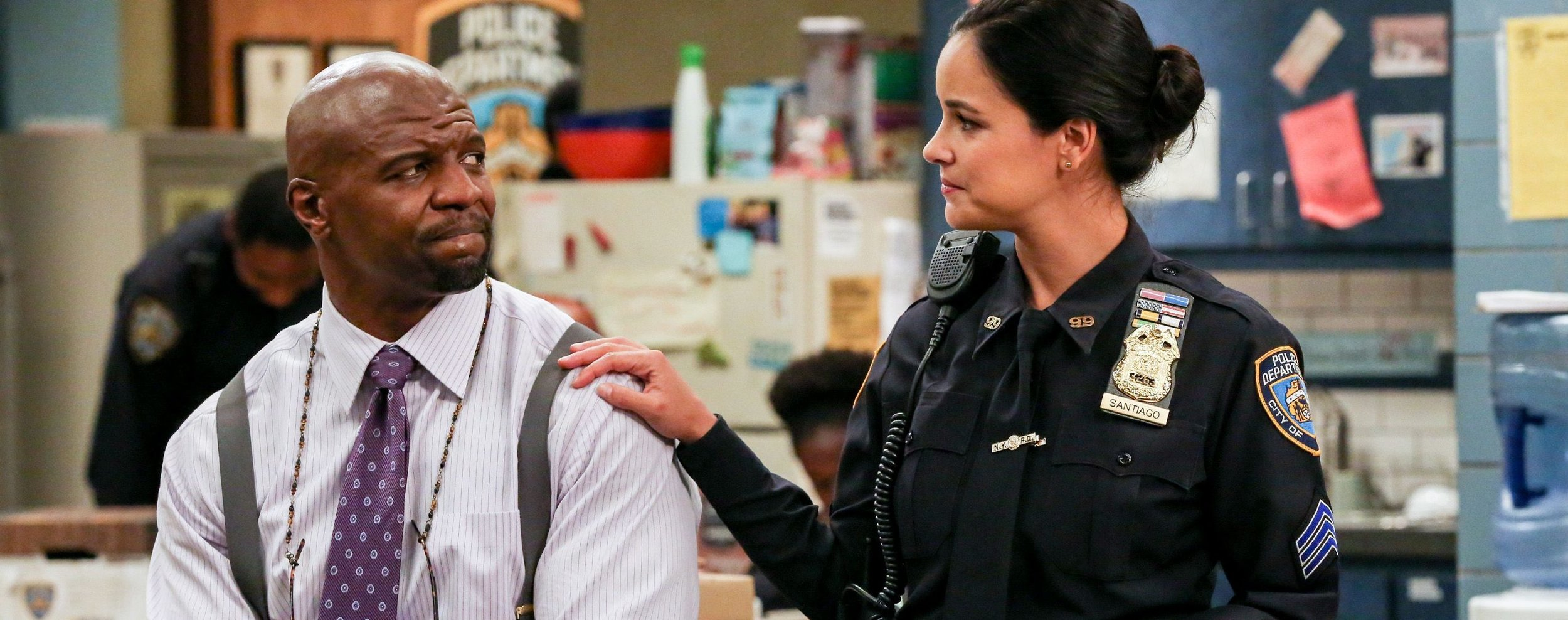 Terry Crewes and Melissa Fumero as Sergeant Terry Jeffords and Detective Amy Santiago in  Brooklyn 99 .