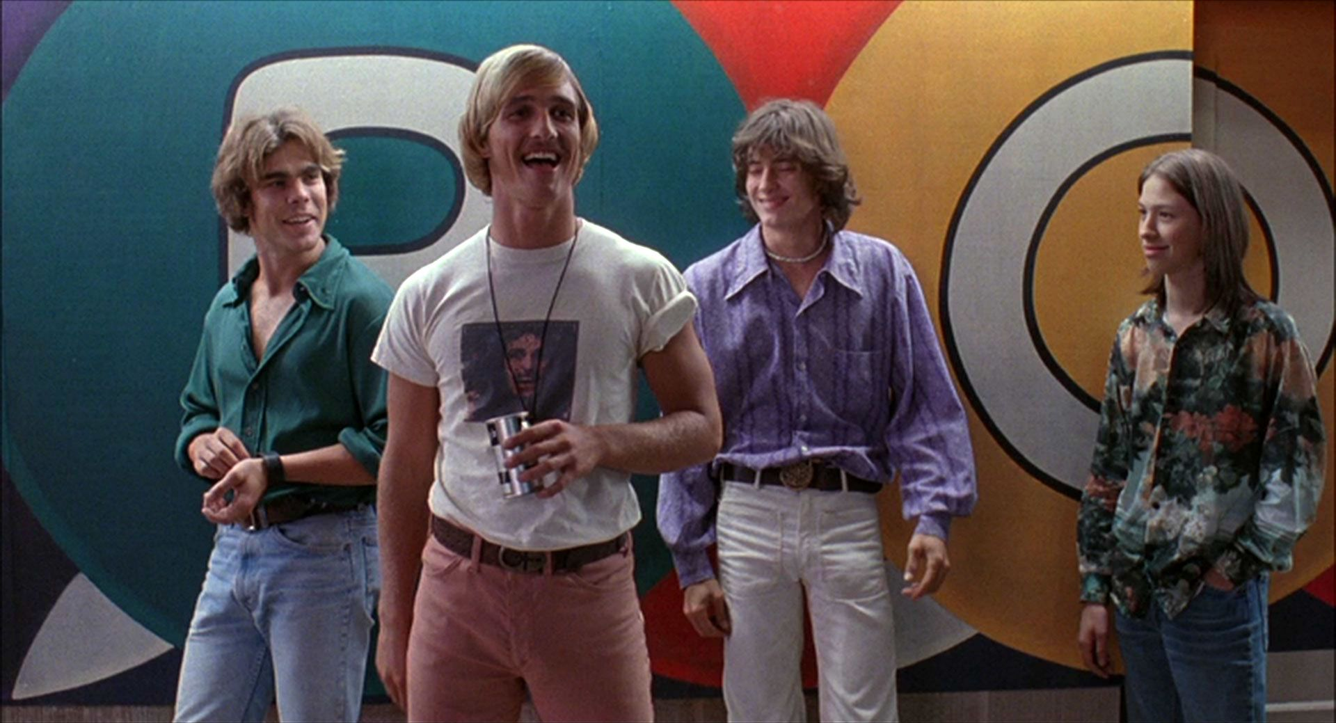 A young Matthew McConaughey sleazes among high school girls in  Dazed and Confused .