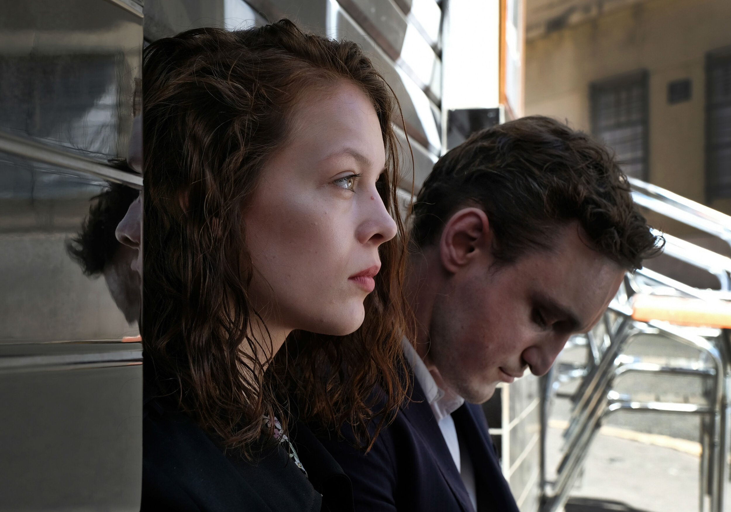 Paula Beer as Marie and Franz Rogowski as Georg in  Transit .