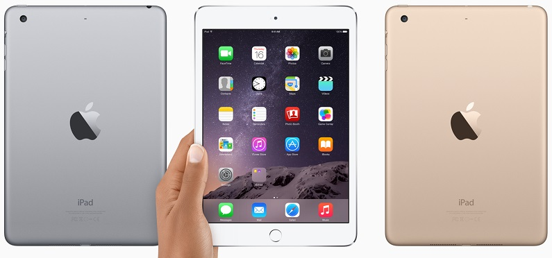 The iPad mini 3 in the three colours. Space grey, silver and gold