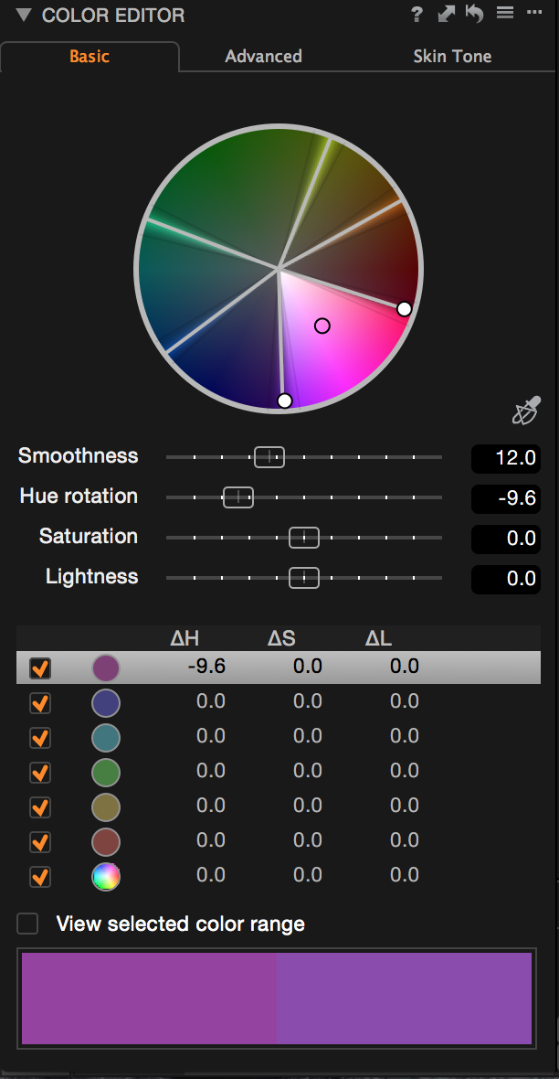 The famous Color Editor