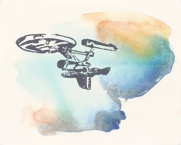 Raumschiff Enterprise |Aquarell und Linoldruck auf Büttenpapier | 40 x 50 cm