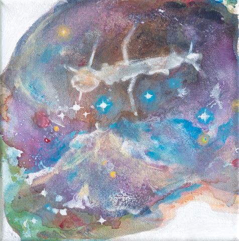 Satellite of Love |Tusche, Acryl und Öl auf Leinwand | 24 x 24 cm