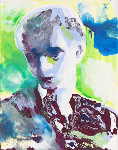 Hans Castorp  | Tusche, Acryl und Druck auf Leinwand | 50 x 40 cm