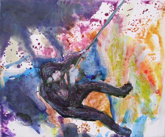 Abseilen  | Tusche, Acryl und Öl auf Leinwand | 30 x 24 cm