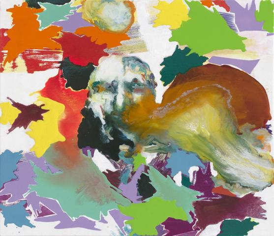 Roy C. Sullivan    Tusche, Acryl, Druck und Öl auf Leinwand   60 x 70 cm