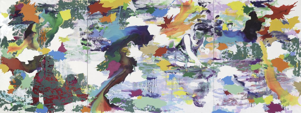 Warten auf G.    Tusche, Acryl, Linoldruck und Öl auf Leinwand   180 x 480 cm (3tlg.)