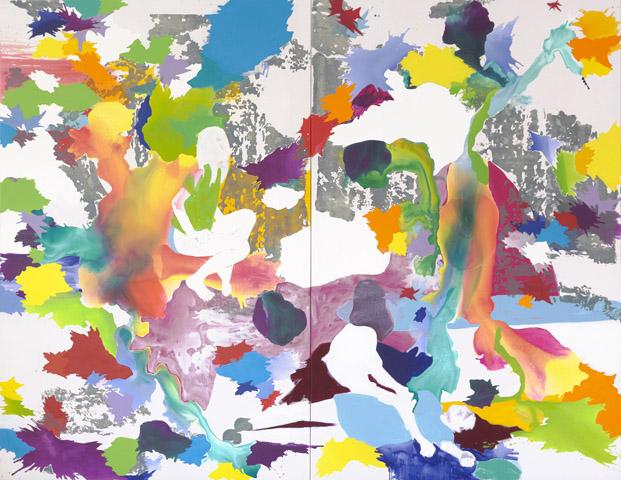 Geisterfahrer    Tusche, Acryl, Linoldruck und Öl auf Leinwand   280 x 360 cm (2tlg.)