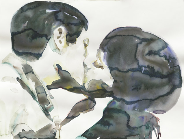 Grippeprävention    Aquarell auf Papier   46 x 61 cm