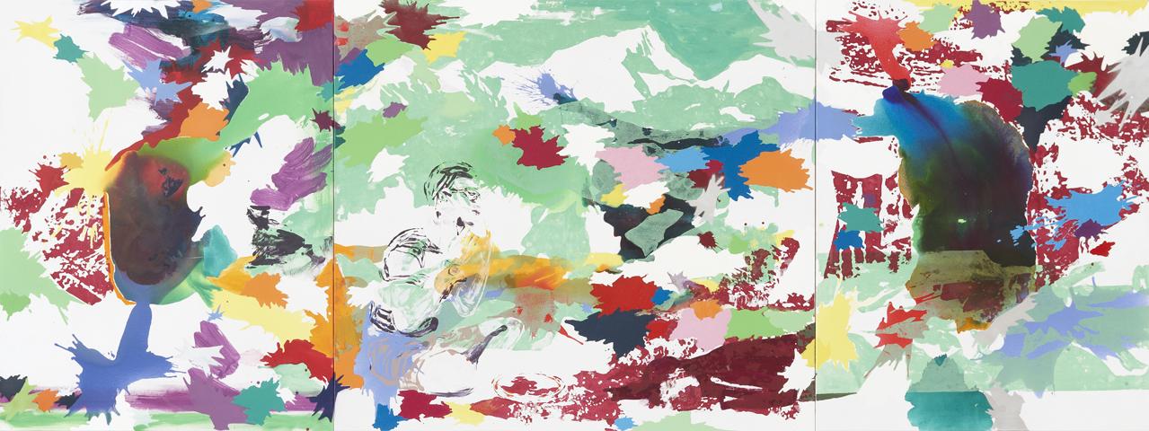 Man braucht nur zu warten    Tusche, Acryl, Linoldruck und Öl auf Leinwand   180 x 480 cm (3tlg.)