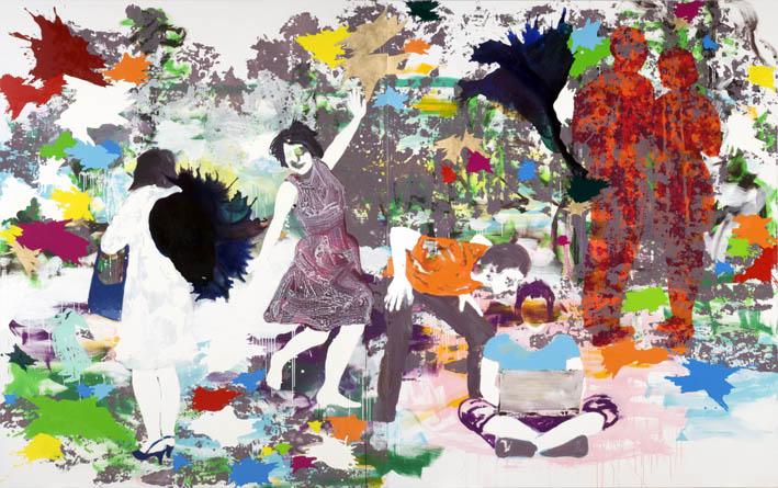 Abschied von gestern  | Tusche, Acryl, Druck und Öl auf Leinwand | 250 x 400 cm (2tlg.)