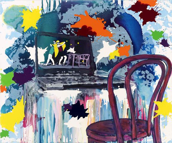 Chrysanthemen-Park | Tusche, Acryl, Druck und Öl auf Leinwand | 100 x 120 cm