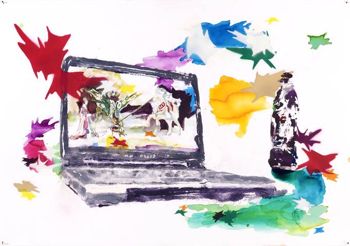 Sie sind keine Ungeheuer  | Aquarell, Acryl und Druck auf Papier | 70 x 100 cm