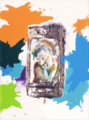 Im Sonntagshemd  | Aquarell, Acryl, Druck und Öl auf Leinwand | 24 x 18 cm