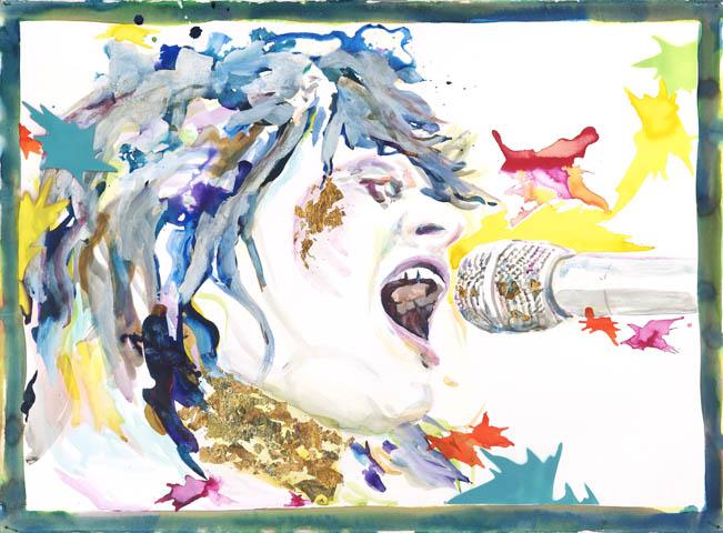 Der Leopard von Singapur  | Aquarell, Acryl und Druck auf Papier | 70 x 100 cm