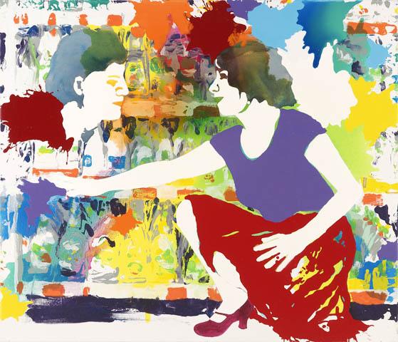 Im modernen Supermarkt  | Tusche, Acryl, Druck und Öl auf Leinwand | 120 x 140 cm