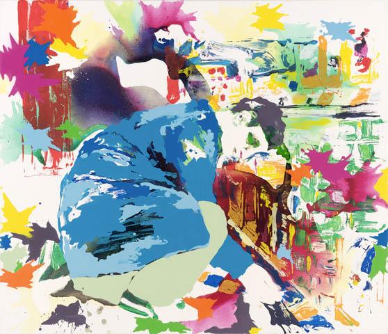 Das purpurne Muttermal  | Tusche, Acryl, Druck und Öl auf Leinwand | 120 x 140 cm