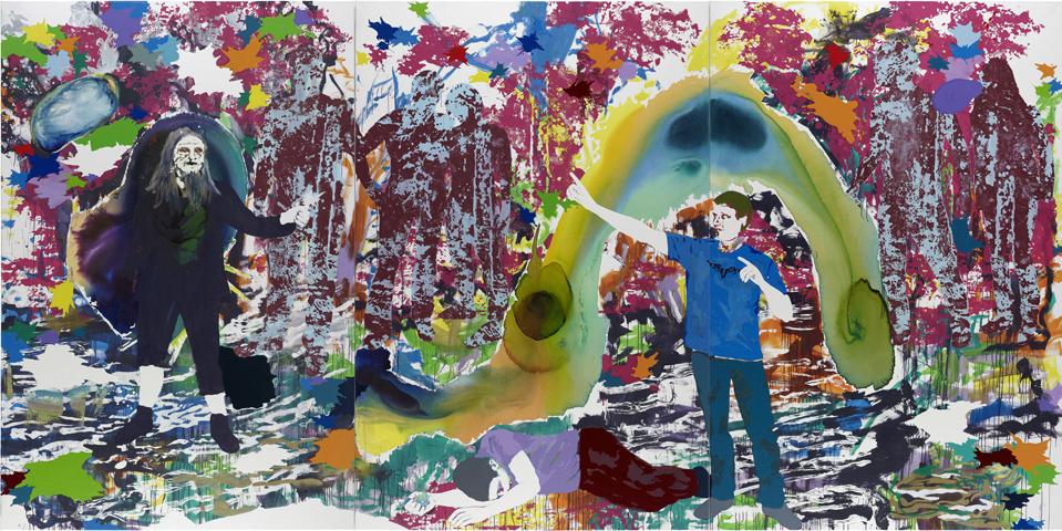 Höllenfahrten und Jenseitsreisen  | Tusche, Acryl, Linoldruck u. Öl auf Leinwand | 300 x 600 cm (3tlg.)