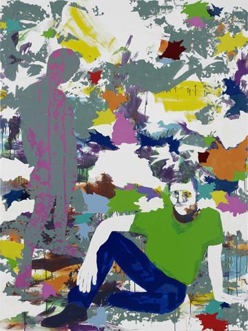 Für Zeitfahrer  | Tusche, Acryl, Linoldruck u. Öl auf Leinwand | 200 x 150 cm