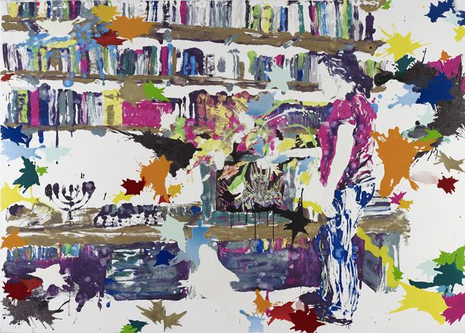 Die einfache Explosion  | Tusche, Acryl, Linoldruck u. Öl auf Leinwand | 200 x 250 cm