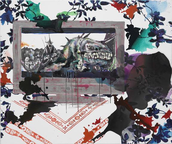 Ein Dorf im All  | Tusche, Acryl, Linoldruck u. Öl auf Leinwand | 100 x 120 cm