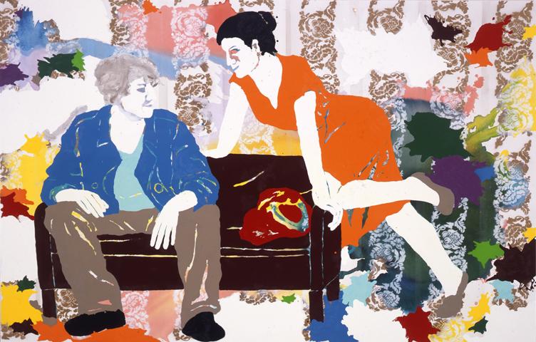 Dreitausendundsiebenhundertmal - raunt er  | Tusche, Acryl, Linoldruck u. Öl auf Leinwand | 160 x 250 cm