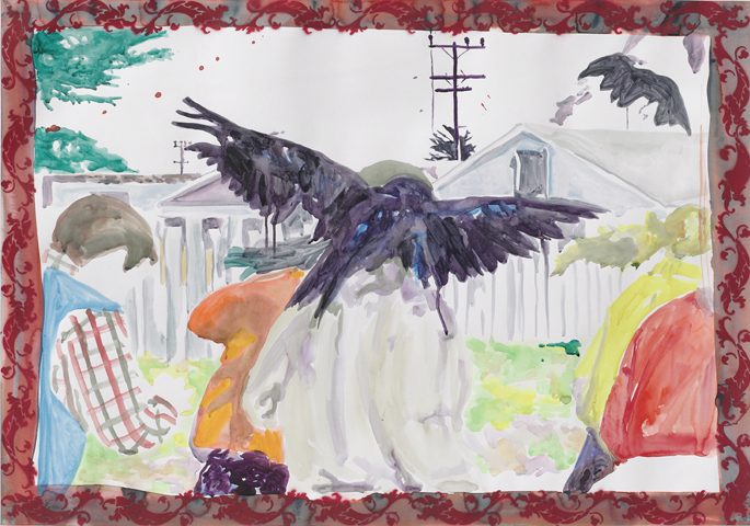 Die Vögel  | Aquarell, Tusche u. Acryl auf Papier | 70 x 100 cm