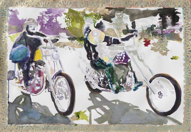 Leichter Reiter  | Aquarell, Tusche u. Acryl auf Papier | 70 x 100 cm