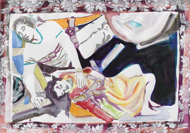 Schande der Galaxis  | Aquarell, Tusche u. Acryl auf Papier | 70 x 100 cm